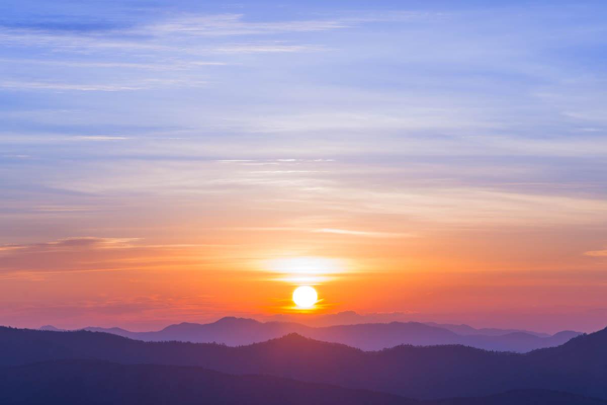 梶ヶ森から望む日の出