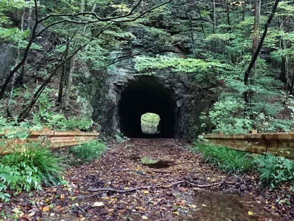 道中の素掘りのトンネル。高瀑登山口まであと2km。