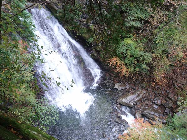 道中、谷間に見える「のぞき滝」このあたりがコース全体の真ん中。