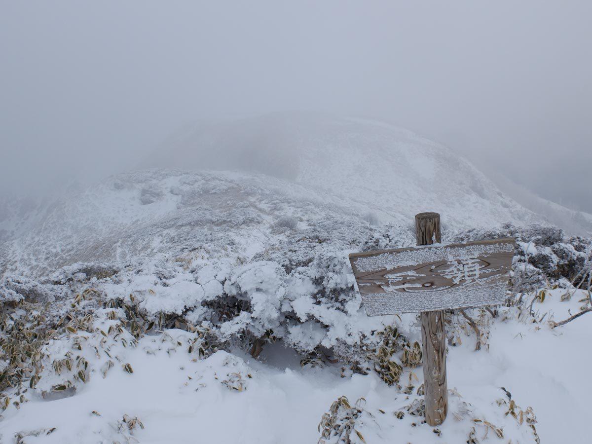 厳冬期の三嶺山頂