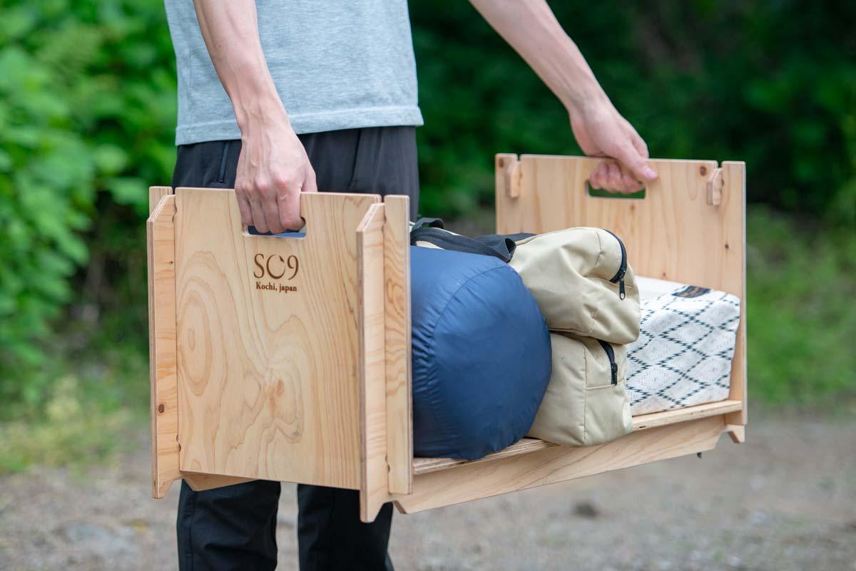 荷物の運搬ができるので車へのギア積み込みが楽になります